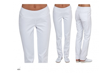 Bílé kalhoty dámské ELDAN, stretchové s úpletem