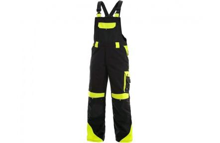 Pracovní kalhoty s laclem SIRIUS Brighton ZIMNÍ černo/žluté