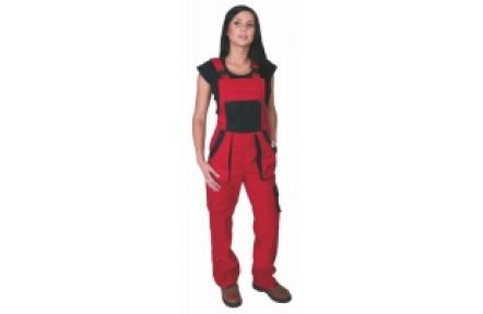 Pracovní kalhoty dámské s laclem LUX SABINA červené