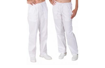 Bílé kalhoty pánské UNI, celé do gumy