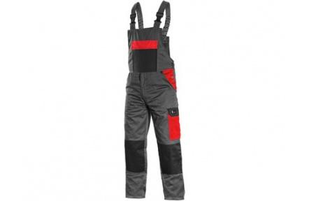Pracovní kalhoty PHOENIX CRONOS s laclem, šedo-červené