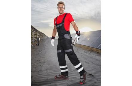 Pracovní kalhoty s laclem COOL TREND reflex - ČERNÉ