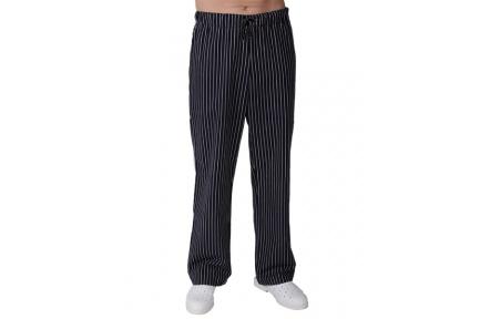 Kuchařské kalhoty PÁNSKÉ, černé s bílým proužkem