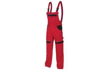 Pracovní kalhoty s laclem COOL TREND červené