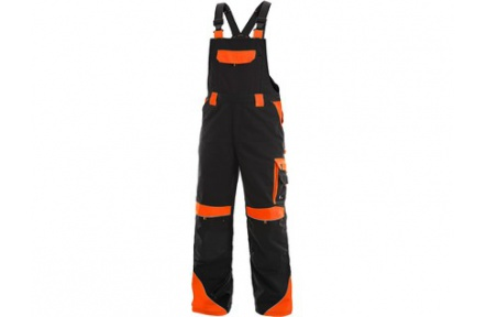 Pracovní kalhoty s laclem SIRIUS Brighton černo/oranžové